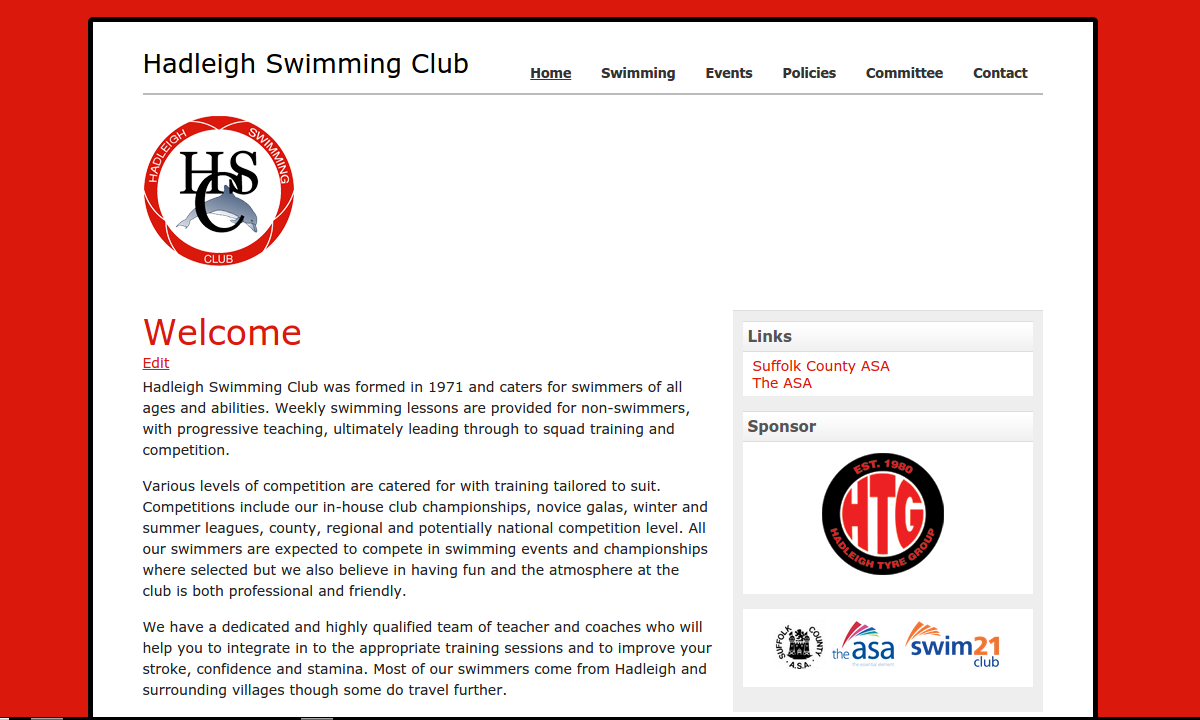 Screenshot of hadleighswimmingclub.co.uk